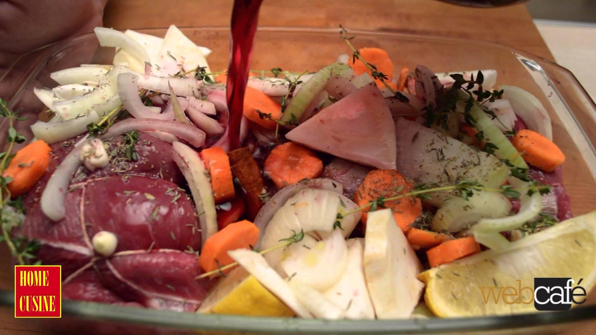 Телешко със зеленчуци в вино