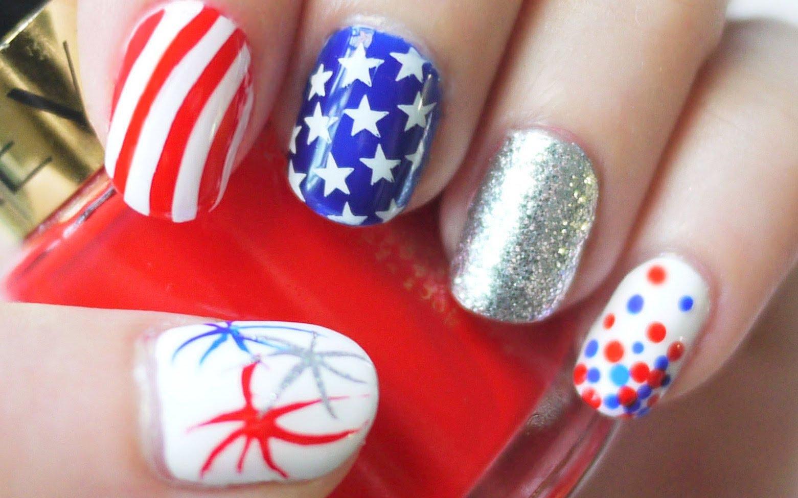 Американското знаме, маникюр за къси нокти