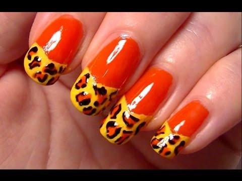 Френски маникюр с леопардов принт