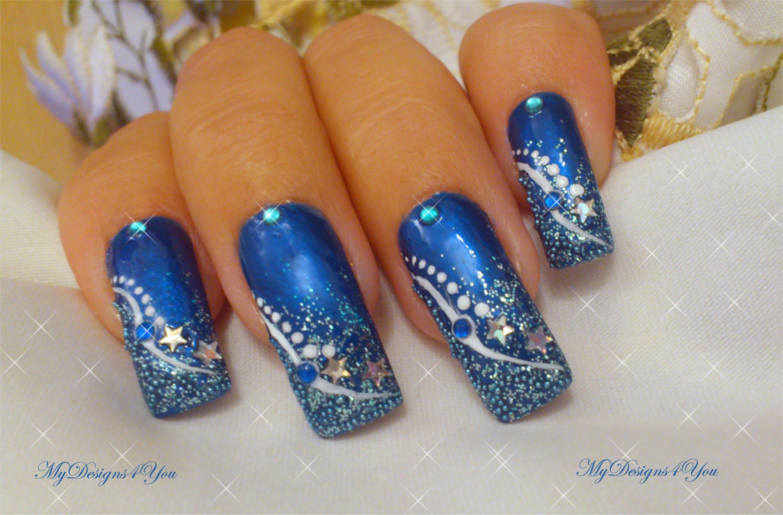 Зимен Новогодишен лак в синьо
