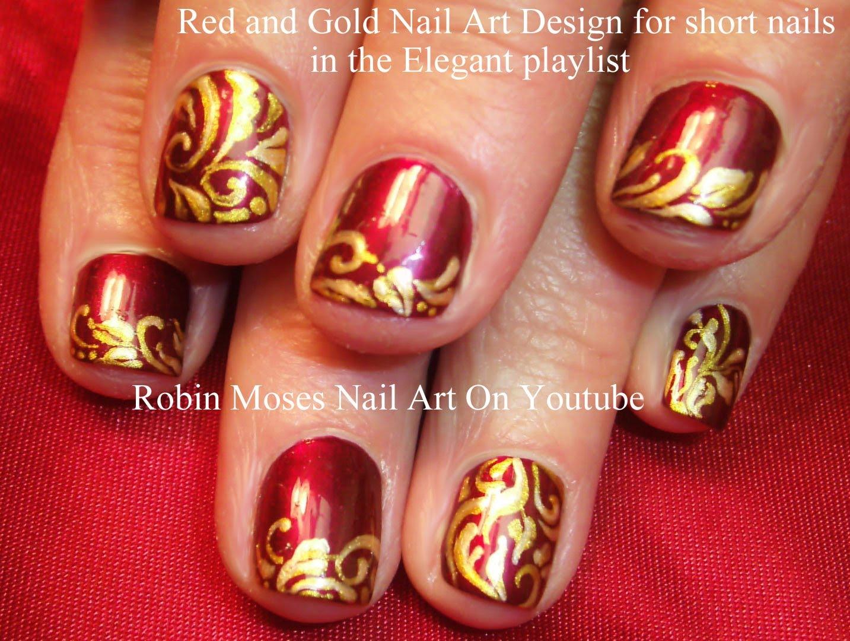 Лесен маникюр за къси нокти в червено