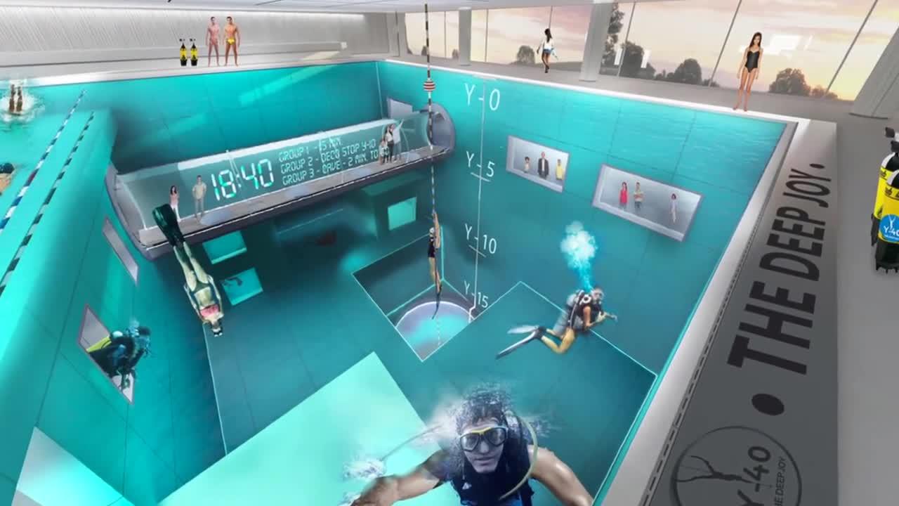 Най- дълбокият и уникален хотелски басейн в света - Y40 (Видео)
