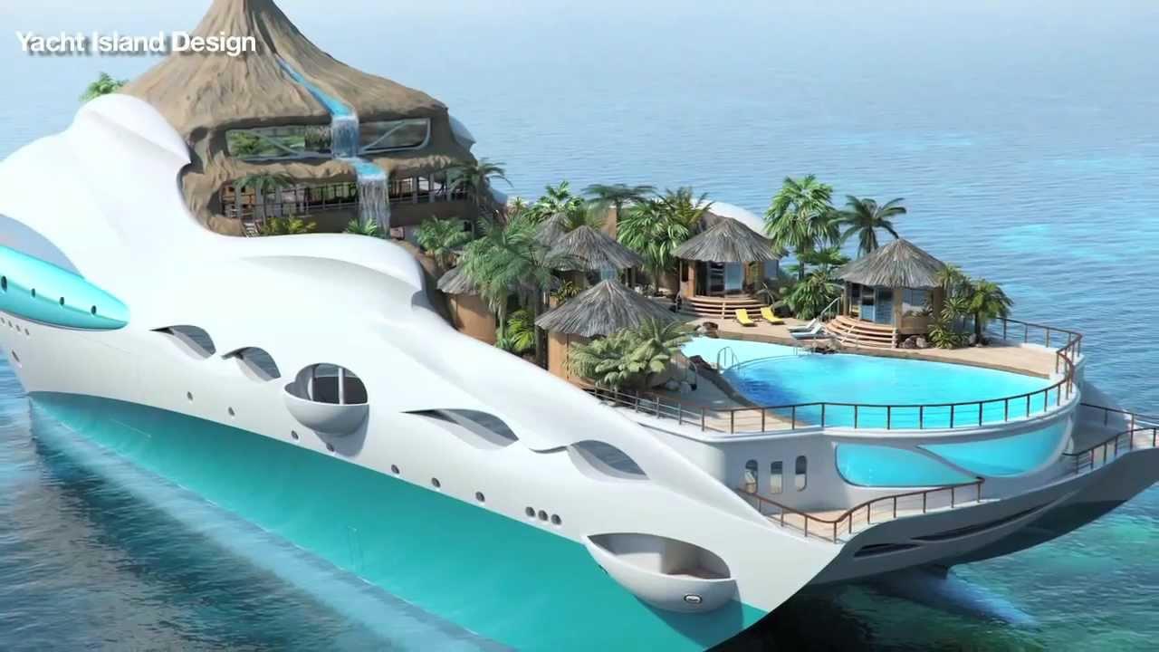 Луксозна яхта, направена като тропически остров