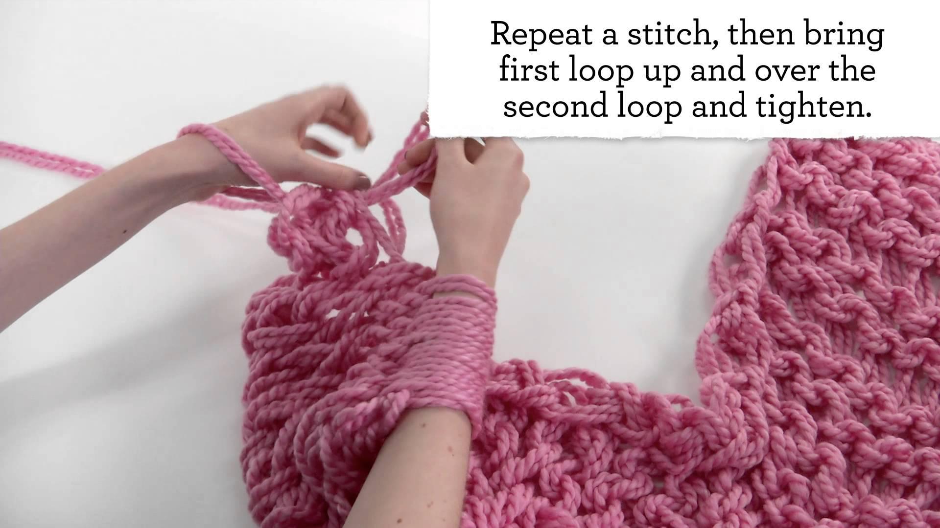 Плетене на шал на само на ръцете