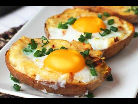 Печени картофи с яйца Рецепта