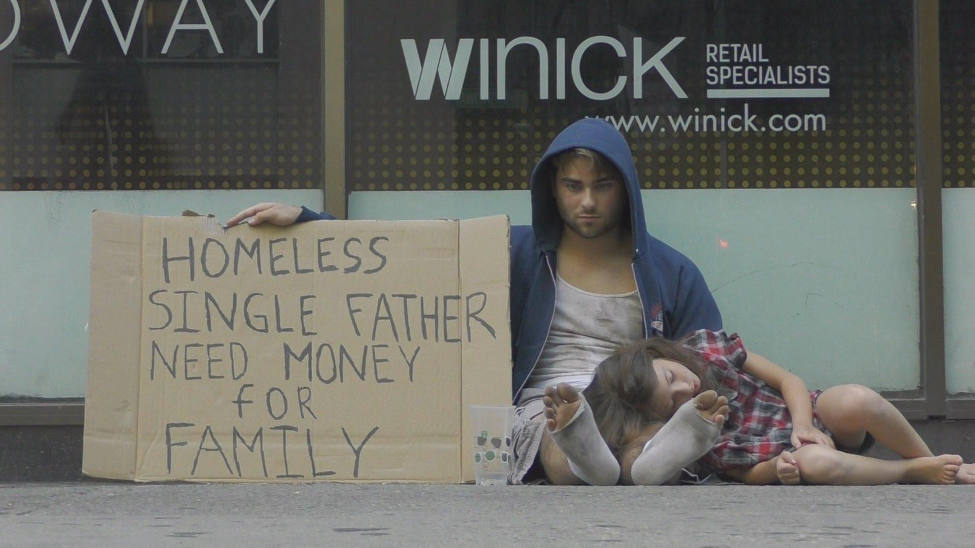 Бездомен баща и дъщеря му