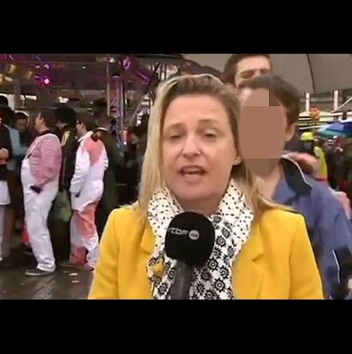 Сексуално нападение и опипване на репортерка в ефир