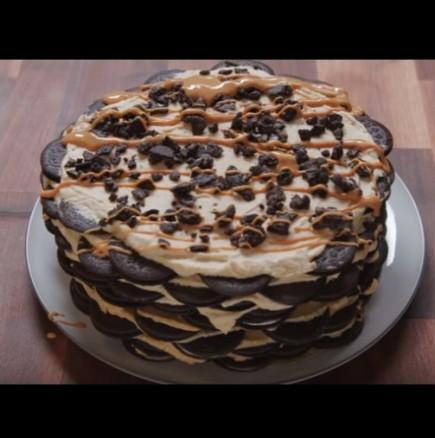 Лесна торта без печени с бисквитки