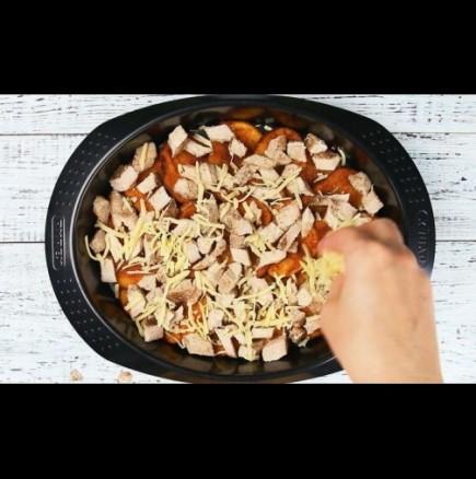 Картофен начос с пържола и кашкавал
